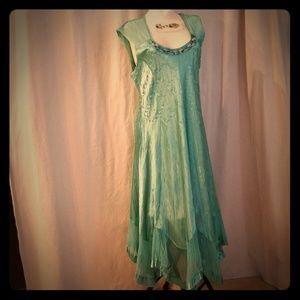 Komarov Teal Green Beaded Chiffon Dress Womens  L